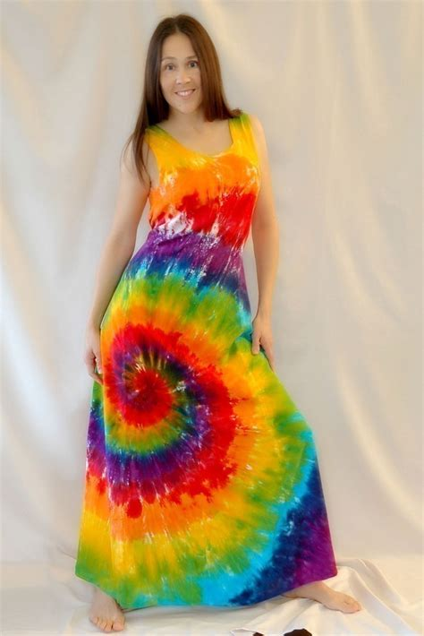 Tie Dye Rainbow Swirl Maxi Dress