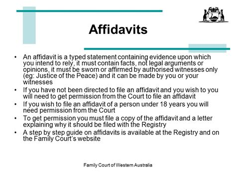 Family Court Of Western Australia Ppt Download Affidavit Template For Family Court