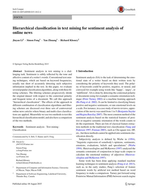 Text Mining Research Papers 2015 by Hierarchical Classification In Text Pdf Available