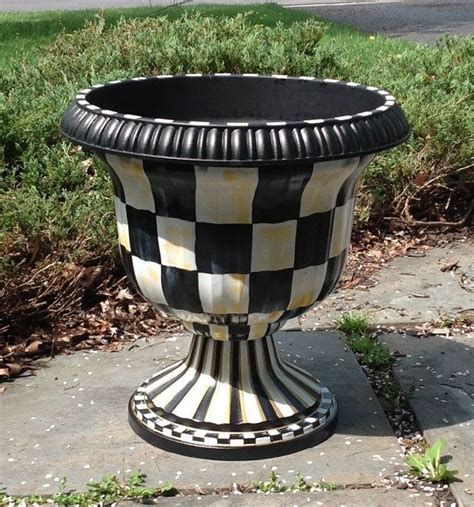 white urn planters black white checked garden urns urn planter