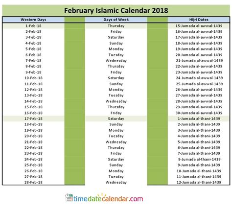 free 2018 muslim calendar to print up only february islamic calendar 2018 free printable template
