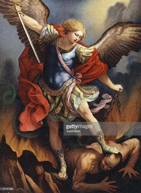 st michael archangel nostalgia card color lithograph fine