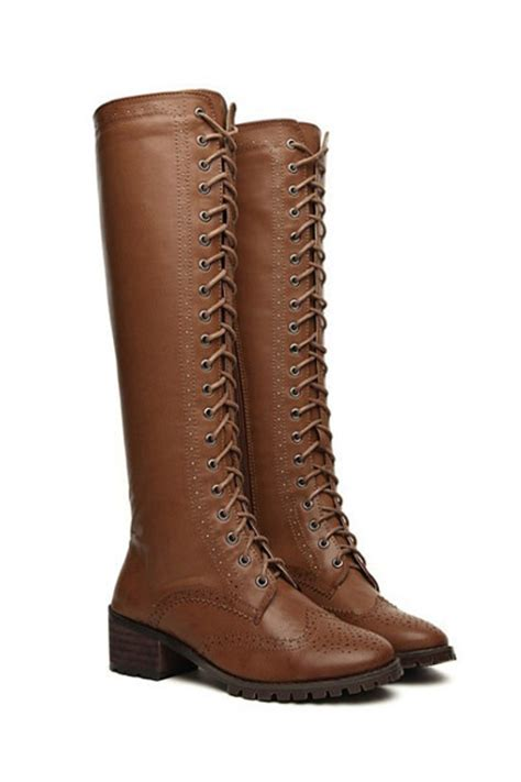 boots quot lace up knee high c combat boot quot by