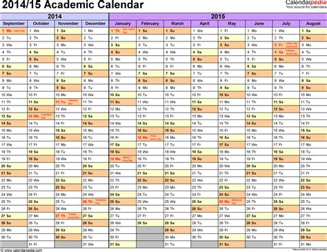 2014 2015 academic calendar template academic calendars 2014 2015 as free printable excel templates