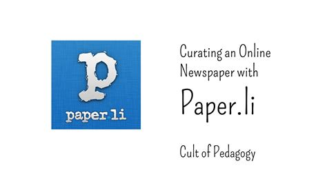 Paper L - curating an newspaper with paper li