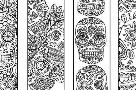 printable skull bookmarks sugar skull bookmarks to color and print bookmark