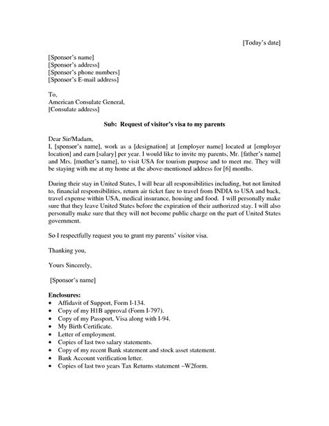 Visa Sponsorship Letter For Parents sle invitation letter for visa for parents invitation