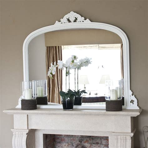 Decorative Mirrors For Above Fireplace by White Beaded Edge Overmantel Fireplace Mirror By