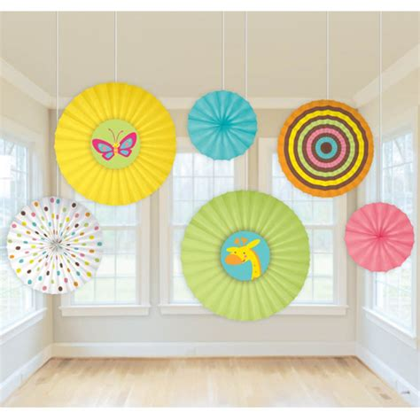How To Make Paper Decorations For Baby Shower - 6 fisher price animals baby shower hanging paper fan