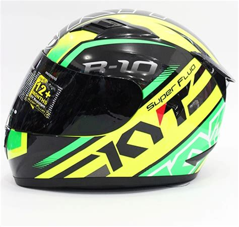 Helm Kyt R10 Black jual helm kyt r10 motif black green yellow fullface r 10 fluo galeri helm indonesia
