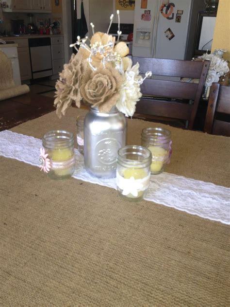burlap mason jar centerpiece rustic party ideas