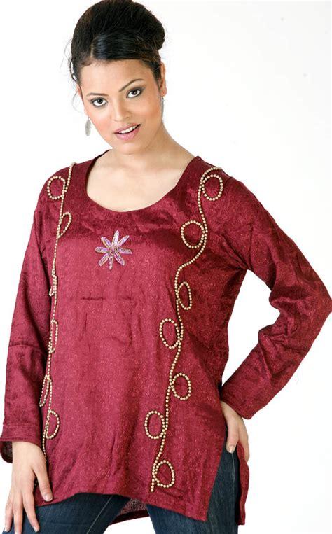 beadwork on kurti marooon designer kurti with beadwork and sequins