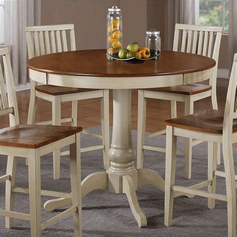 White Counter Height Dining Table Candice Counter Height Dining Table In Oak And White Cd360tw Cd360bw Kit