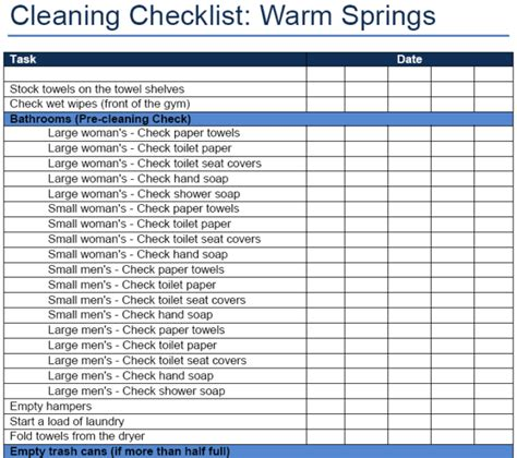 Office Cleaning Schedule And Checklist Template Excel V M D Com Office Cleaning Checklist Template