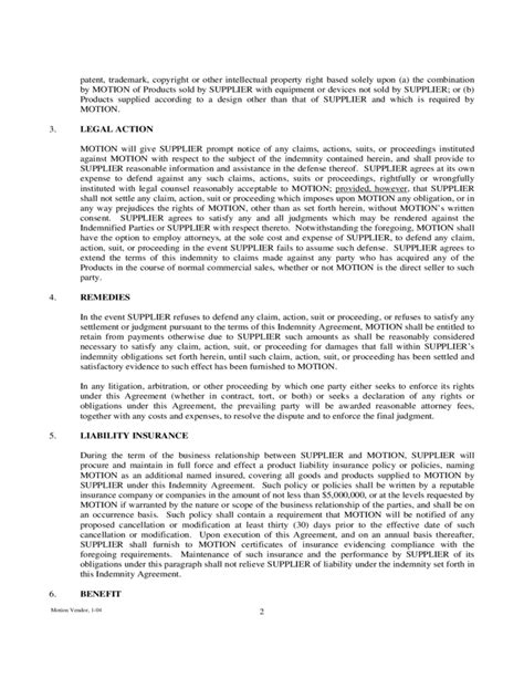 indemnity agreement template sle indemnity agreement free