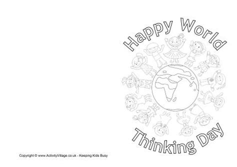 world thinking day colouring card