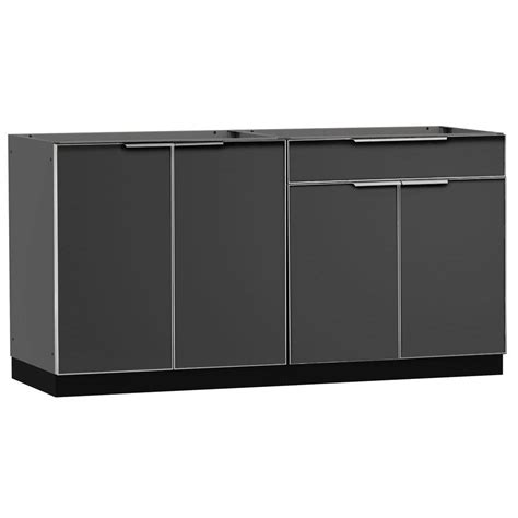 outdoor kitchen cabinets home depot newage products aluminum slate 2 piece 64x23x36 in