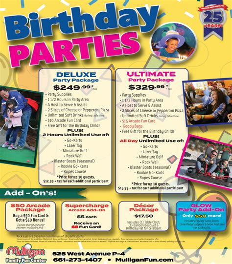 birthday party packages mulligan family fun center palmdale ca