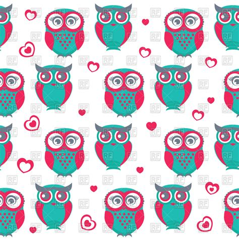 cute pattern clipart seamless pattern with cute cartoon owls and hearts royalty