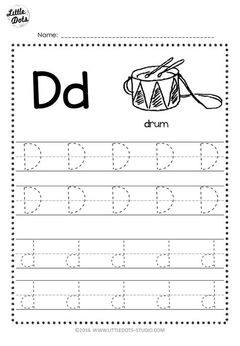 Free Letter D Tracing Worksheets