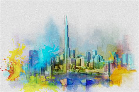 Full Duvet Dimensions Burj Khalifa Skyline Painting By Corporate Art Task Force