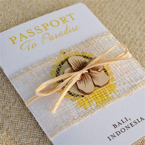 balinese themed wedding invitations hibiscus flower passport wedding invitation bali
