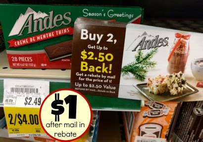 Mail In Sweepstakes List - andes chocolate thins up to 2 50 mail in rebate