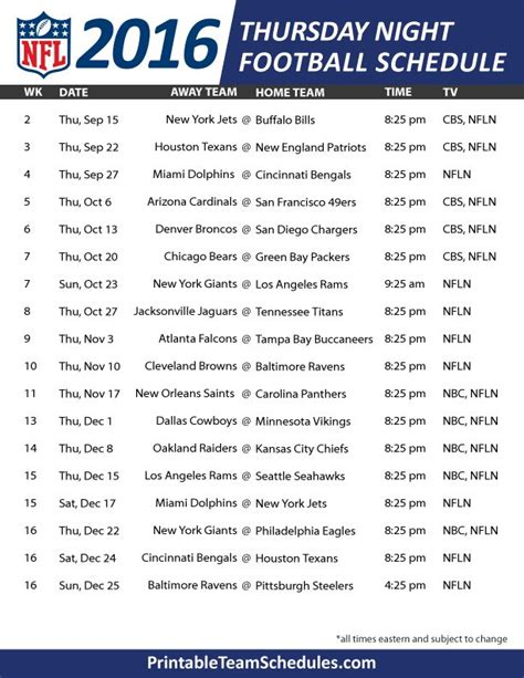 printable schedule of nfl games best 25 thursday night football schedule ideas on