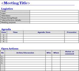 Templates For Minutes Of Meetings And Agendas by Free Meeting Minutes Template