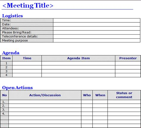 minutes of meeting template free meeting minutes template