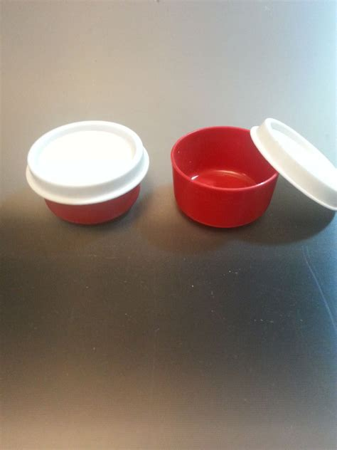 Tupperware Mini Deco 2 vintage tupperware smidget mini containers w white