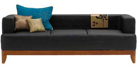 godrej sofa price plunge three seater synthetic leather sofa in black colour