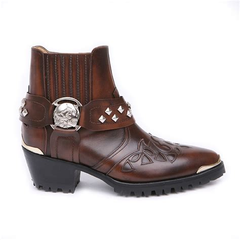 Timberland Skull Leather Black Brown skull boots for images