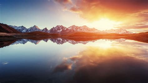 wallpaper sunrise mountains morning reflections lake