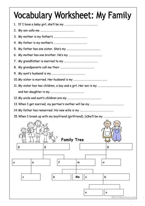 printable vocabulary activities vocabulary worksheet my family medium worksheet free