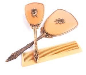 vintage vanity set golden hair brush by maejeanvintage