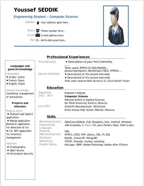 Resume Template Libreoffice by Resume Templates Libreoffice Resume Ideas