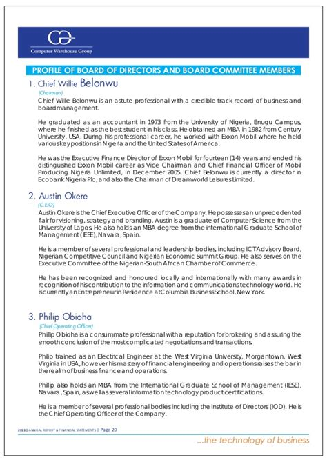 Exxon Finance Mba by Computer Warehouse Annual Report 2013