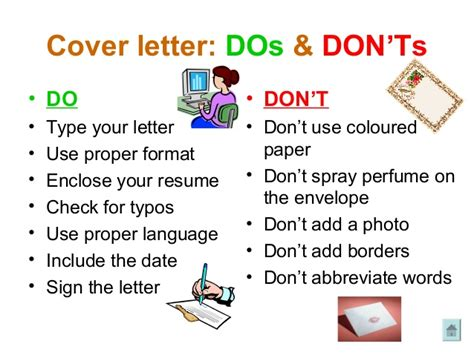 cover letter dos and donts preparation cover letter