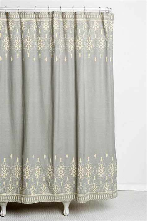 Ivory Ruffle Curtains by Magical Thinking Embroidery Ivory And Gray Shower Curtain