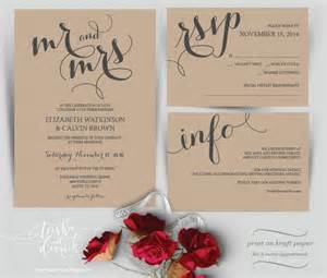 Where To Print Wedding Invitations Mr And Mrs Wedding Invitation Instant Download Printable Template Kraft Wedding Invitation Set