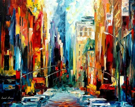 acrylic painting new new york early morning palette knife painting on