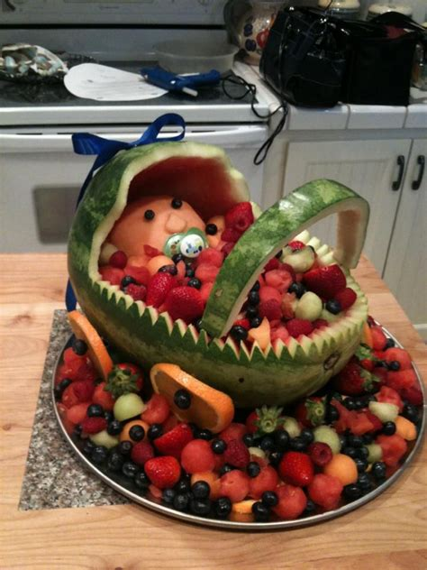 Watermelon Fruit Bowl Baby Shower by Baby Carriage Fruit Basket For Baby Shower Cut Watermelon