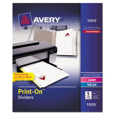 Ave 11515 Avery Customizable Print On Dividers 5 Tab Letter 5 Sets Avery 11370 Template