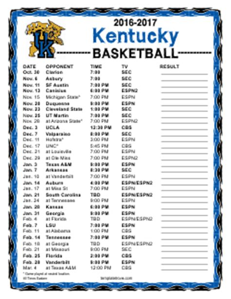 uk basketball schedule spread schedules printable team schedules