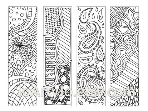 doodle patterns for colouring zentangle inspired bookmarks printable coloring digital