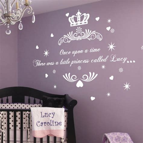 princess bedroom wall stickers personalised once upon a time princess name art wall