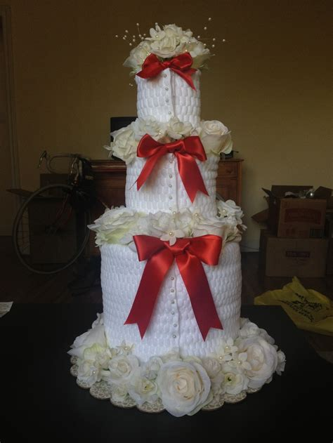 Towel Cakes For Bridal Shower by Bridal Shower Towel Cake Front View Towel Cakes