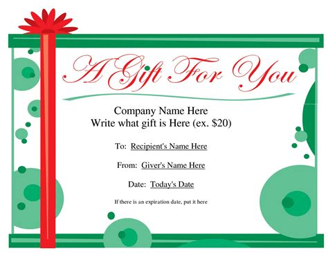 template for alternative gift card free printable gift certificate template free