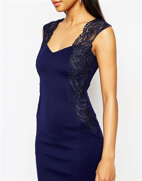 lipsy lace applique dress lyst lipsy bodycon dress with lace applique shoulder